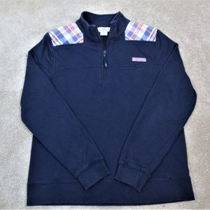 VINEYARD VINES Navy PLAID 1/4 Zip PULLOVER Shirt